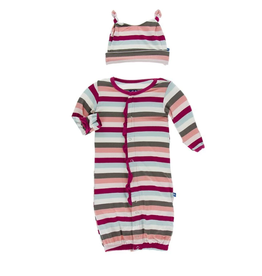 kickee pants geology stripe ruffle gown converter and double knot hat set