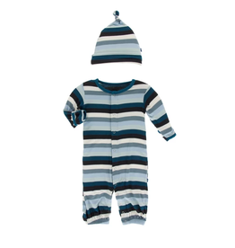 kickee pants meteorology stripe gown converter and knot hat set