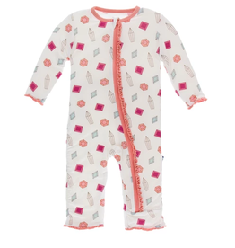 kickee pants natural gems muffin ruffle coverall with zipper