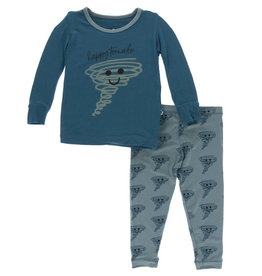 kickee pants heritage blue happy tornado long sleeve pajama set