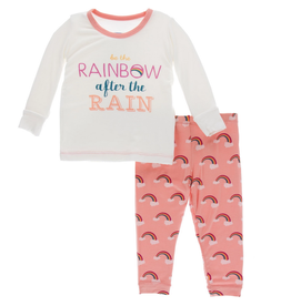 kickee pants blush rainbow after the rain long sleeve pajama set