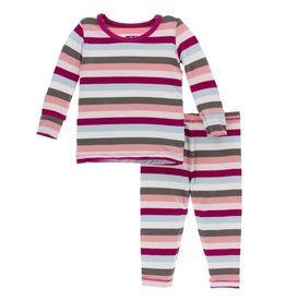 kickee pants geology stripe long sleeve pajama set