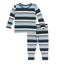 kickee pants meteorology stripe long sleeve pajama set