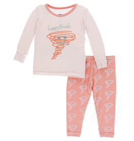 kickee pants macaroon happy tornado long sleeve pajama set