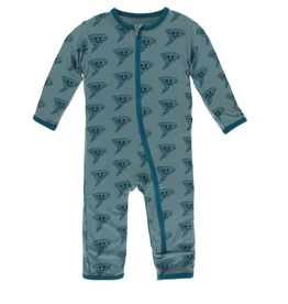 kickee pants dusty sky happy tornado coverall with zipper