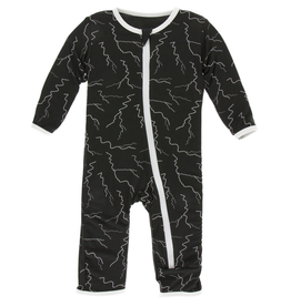kickee pants zebra lightning coverall with zipper