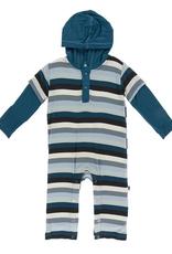 kickee pants meteorology stripe long sleeve double layer polo romper