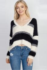 fallon wide stripe fuzzy crop sweater
