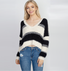fallon wide stripe fuzzy crop sweater
