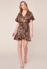 wild card leopard satin wrap dress
