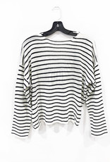 long sleeve striped crop sweater with cross back