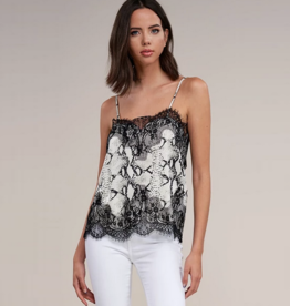 snake print lace cami