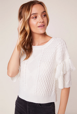 fringe out short sleeve sweater