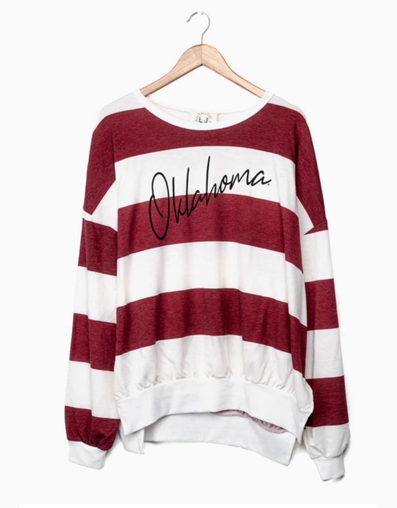 LivyLu oklahoma thin script side slit sweatshirt