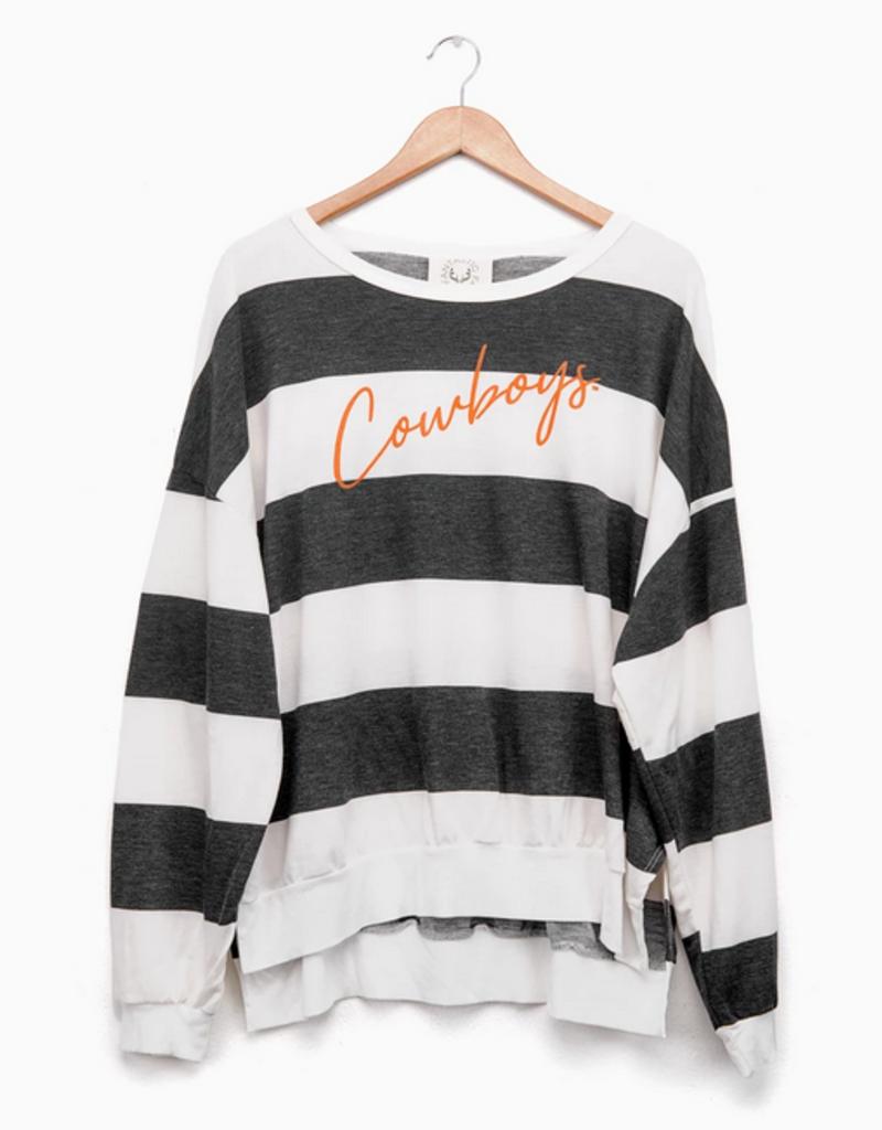 LivyLu cowboys thin script side slit sweatshirt