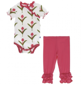 kickee pants natural red ginger flowers short sleeve kimono outfit set
