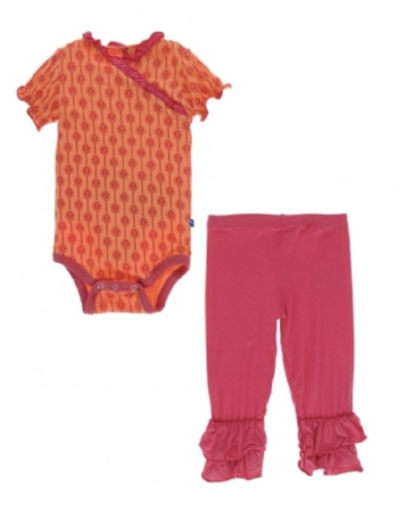 kickee pants nectarine leaf lattice short sleeve kimono one piece and double ruffle pant outfit set