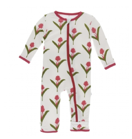 kickee pants natural red ginger flowers coverall with zipper