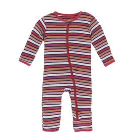 kickee pants botany red ginger stripe coverall with zipper
