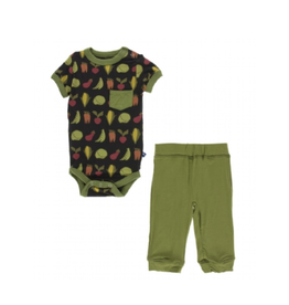 kickee pants zebra garden veggies short sleeve pocket outfit set