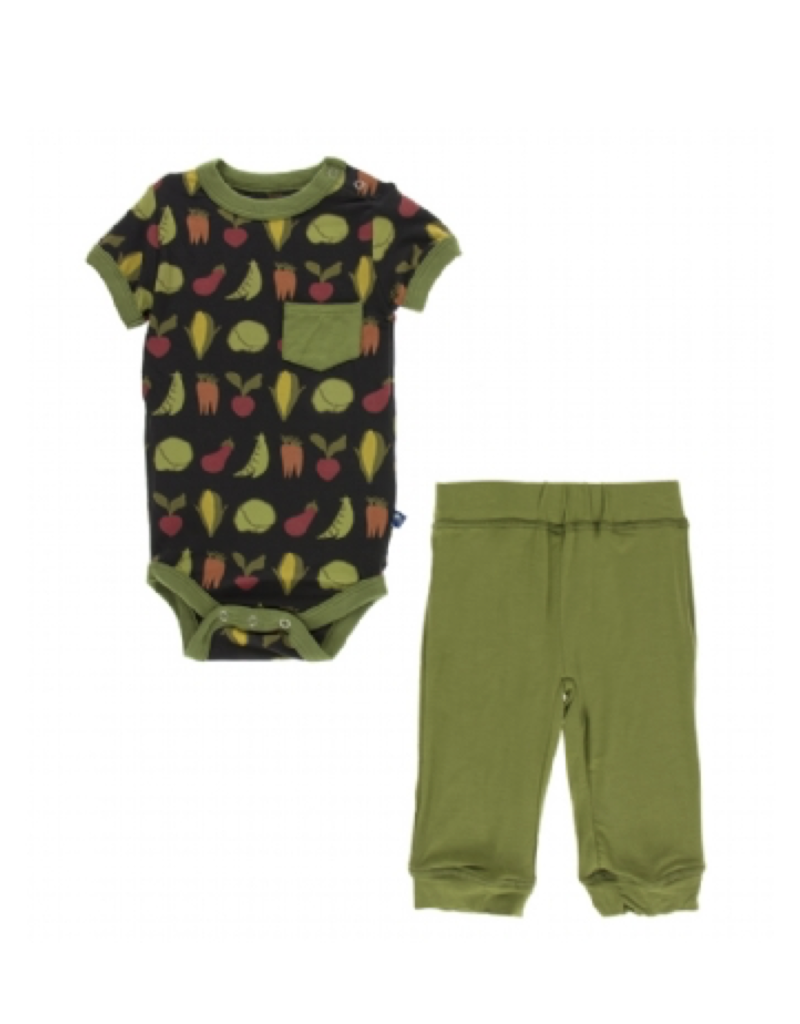 kickee pants zebra garden veggies short sleeve pocket outfit set