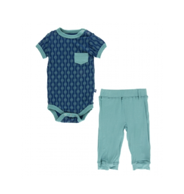 kickee pants navy leaf lattice short sleeve pocket outfit set