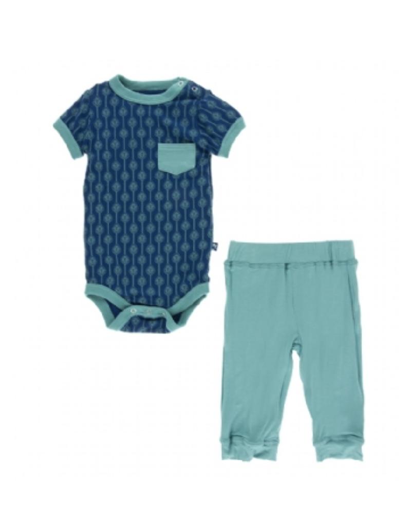 kickee pants navy leaf lattice short sleeve pocket outfit set
