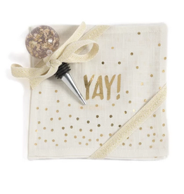 shiraleah pop fizz clink yay cocktail napkins and bottle stopper gift set