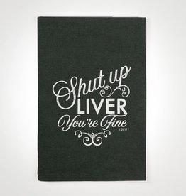 shut up liver tea towel (black)