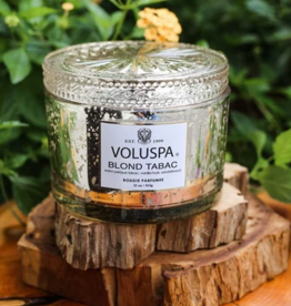 voluspa blond tabac 11oz corta maison glass candle with lid boxed