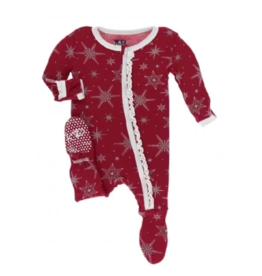 kickee pants crimson snowflakes muffin ruffle footie with zipper