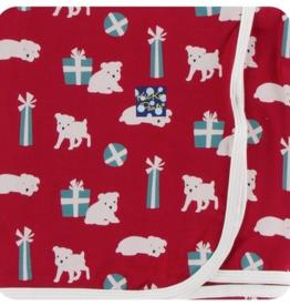 kickee pants crimson puppies & presents toddler blanket