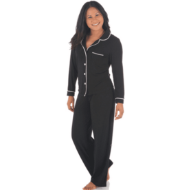 kickee pants midnight with natural womens long sleeve collared pajama set