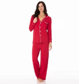 kickee pants crimson with natural womens long sleeve collared pajama set
