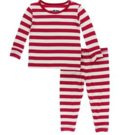 kickee pants candy cane stripe 2019 long sleeve pajama set