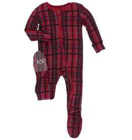 kickee pants christmas plaid 2019 footie with zipper
