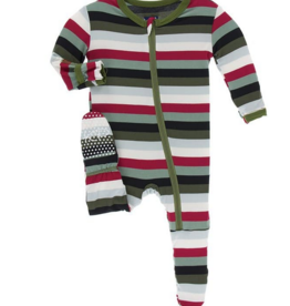 kickee pants christmas multi stripe footie with zipper