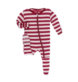 kickee pants candy cane stripe 2019 footie with zipper