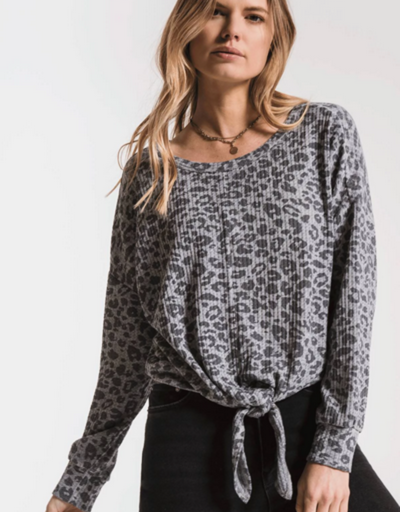 z supply the leopard tie front waffle thermal top