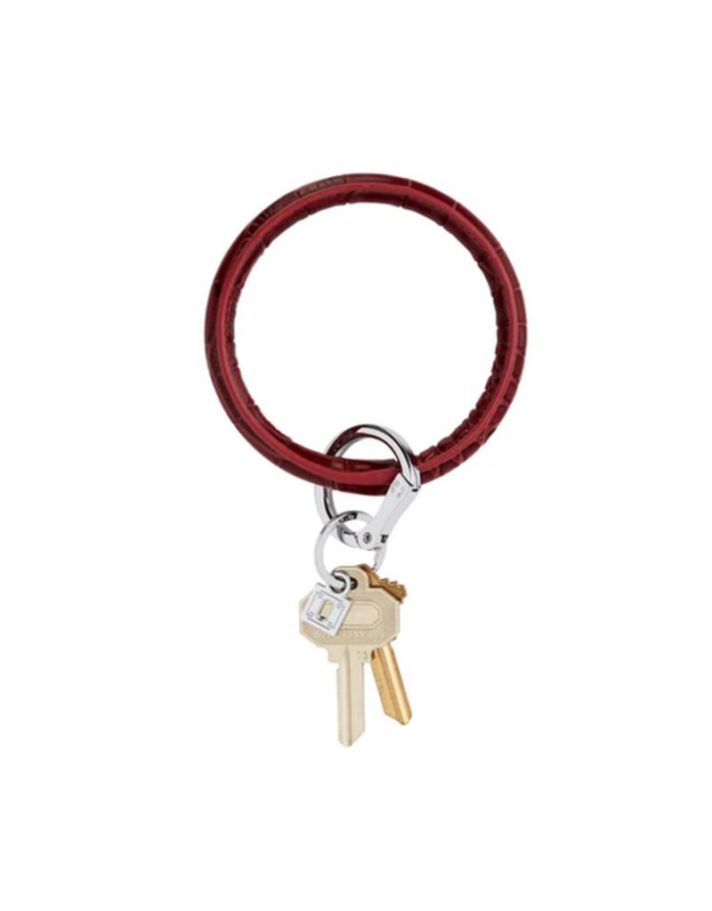 o venture big O leather key ring - merlot croc