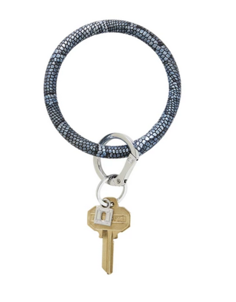 o venture big O leather key ring - dragon glass snakeskin