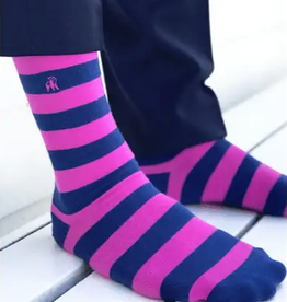 rich pink striped socks
