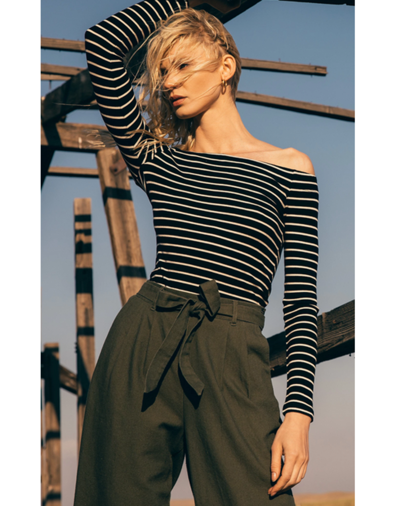 z supply the stripe long sleeve off shoulder top