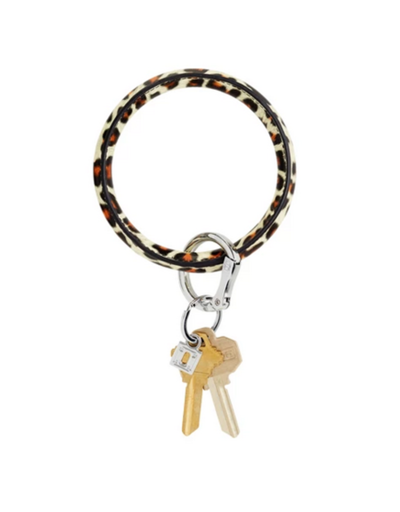 o venture luxe leather big O key ring- cheetah