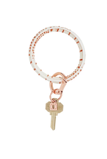 oventure luxe croc embossed big O key ring: rose gold