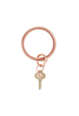 o venture luxe croc embossed big O key ring- solid rose gold
