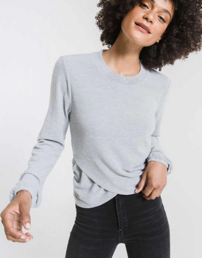 z supply the soft spun ruched long sleeve top
