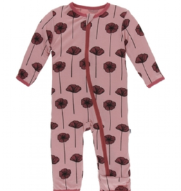 kickee pants strawberry poppies coverall with zipper