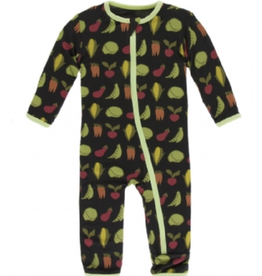 kickee pants zebra garden veggies coverall with zipper