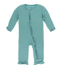 kickee pants solid classic ruffle coverall with zipper